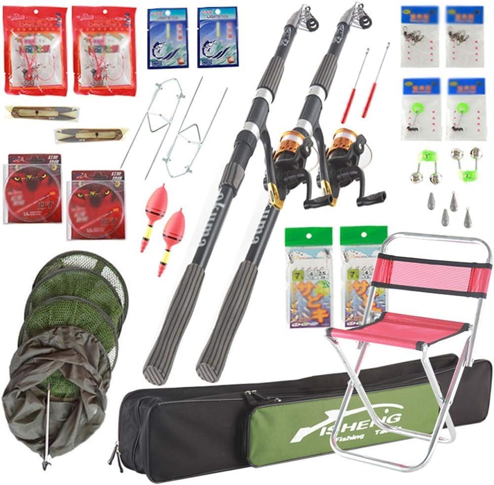 釣り竿釣り竿セット、リールと釣りギアの付属品が付いている引き込み式の釣り竿の海釣り初心者の組み合わせフルセット釣り道具(色:マルチカラー、サイズ:3.6) Multi-colo赤