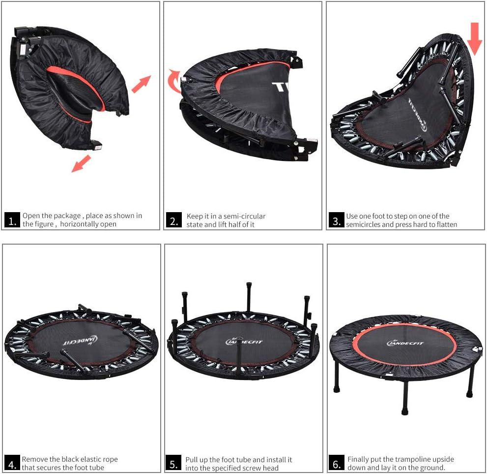 kann Herz und Koordination verbessern Garten Fitness-Rebounder f/ür den Innenbereich Aerobic-/Übung maximale Belastung 150 kg 101,6 cm tragbar Jandecfit Faltbares Fitness-Trampolin