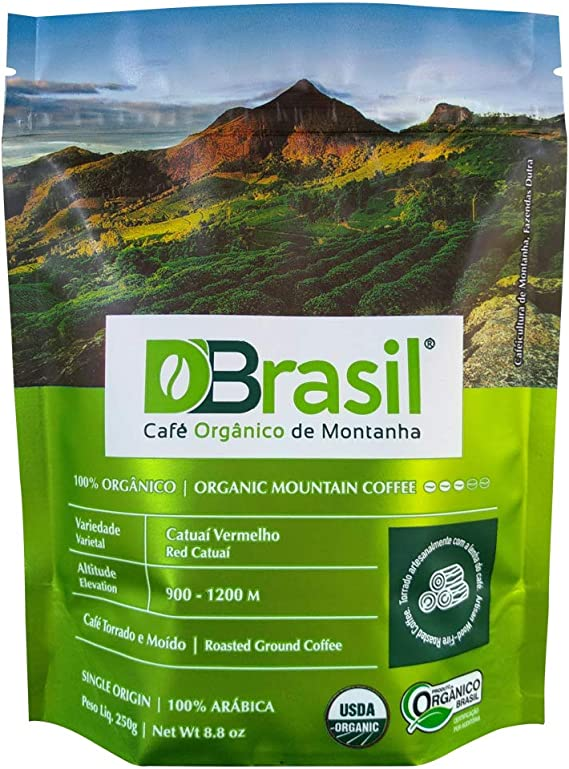 D'Brasil Café Orgânico de Montanha, Torrado e Moído, 250g, 100% Arábica, Certificado Orgânico Brasil, USDA, Rainforest