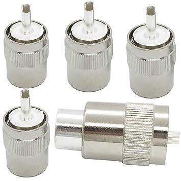 UHF PL-259 PL259 - Adaptador de Conector Coaxial Macho para ...