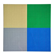 "EKIND Pack of 4 Classic Building Baseplate 10"" x 10"" Compatible with Lego Brickyard Building Blocks, Perfect for Activity Table or Displaying Compatible Construction Toys (Blue+Green+Gray+Sand)"