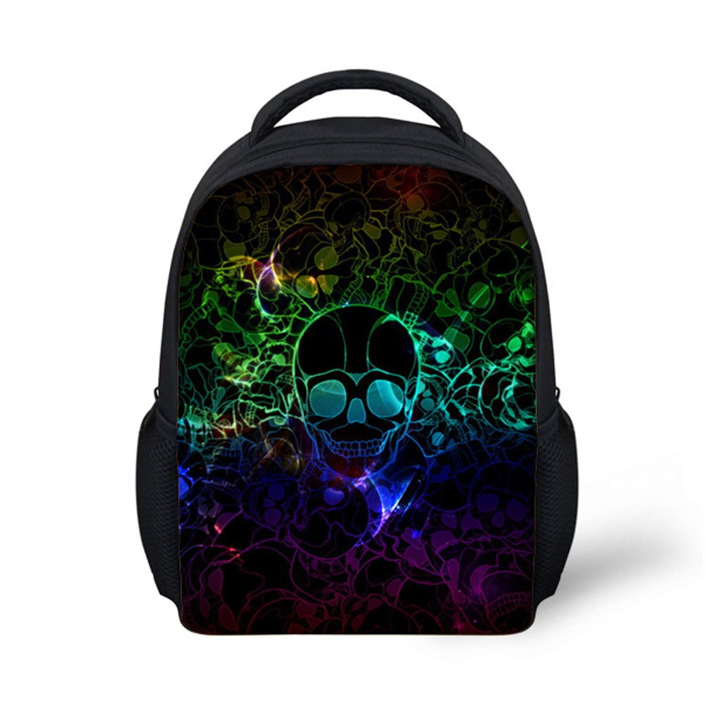 Hoijay Preschool Backpack, Little Kid Backpacks for Boys and Girls Colorful Glasses Skulls