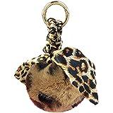 Shining Crown Leopard Faux Fur Ball Keychain Animal Print Fluffy Pom Pom Keyring