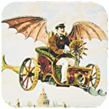 3dRose CST_102667_2 Vintage Steampunk Flying Machine Dirigible Design-Soft Coasters, Set of 8