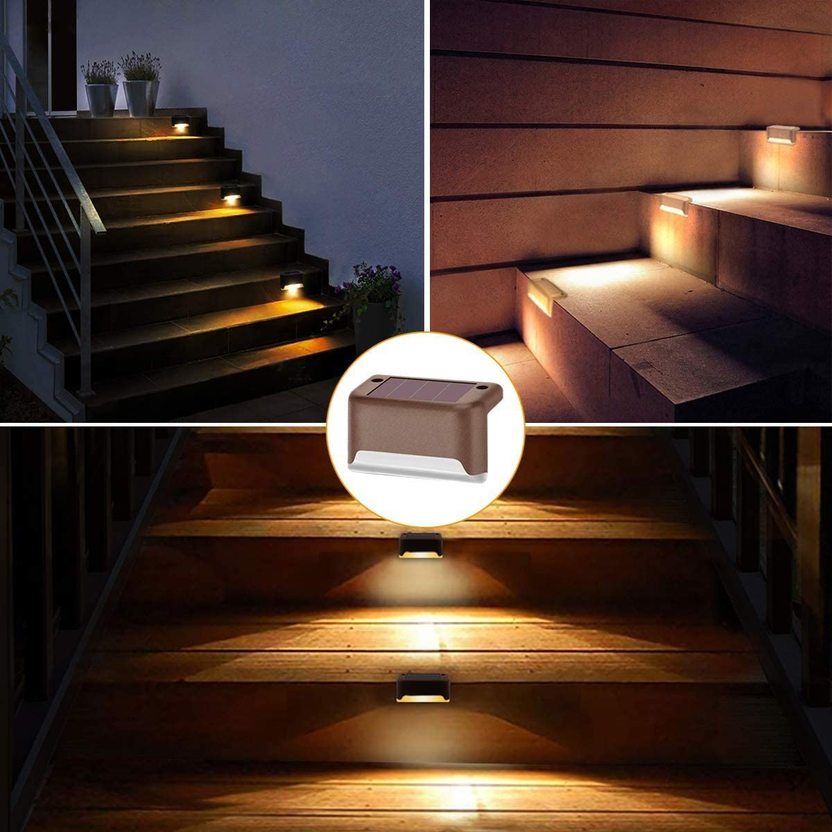 swonuk Luces de Cubierta Solar ,8 Piezas Resistente al Agua LED Luz de Escaleras Solar Lámpara Exterior Luces Deck Solares Exterior para Terraza, Paso, Camino, Escaleras, Patio ,Cercas: Amazon.es: Electrónica