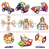 110 Pieces Magnetic Building Blocks Set Educational Stacking Tiles Creative Imagination Development Toys by WiAllFun