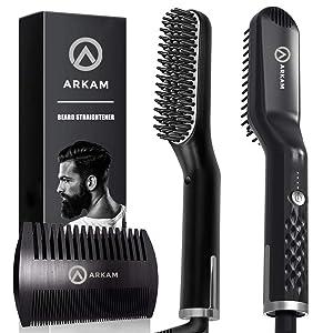Arkam Premium Beard Straightener for Men - Cutting Edge Ionic Beard Straightening Comb for Home & Travel, Volumizing Hair Straightener for Men & Women, Dual Voltage Revolutionary Beard Comb 110-240V