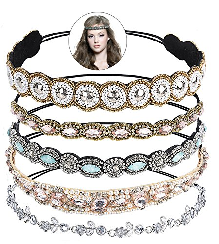 Rhinestone Headbands, Fascigirl 5PCS Jeweled Decorative Forehead Diamond Headband Crystal Headband Beaded Headbands for Women Birthday Gift with Stone