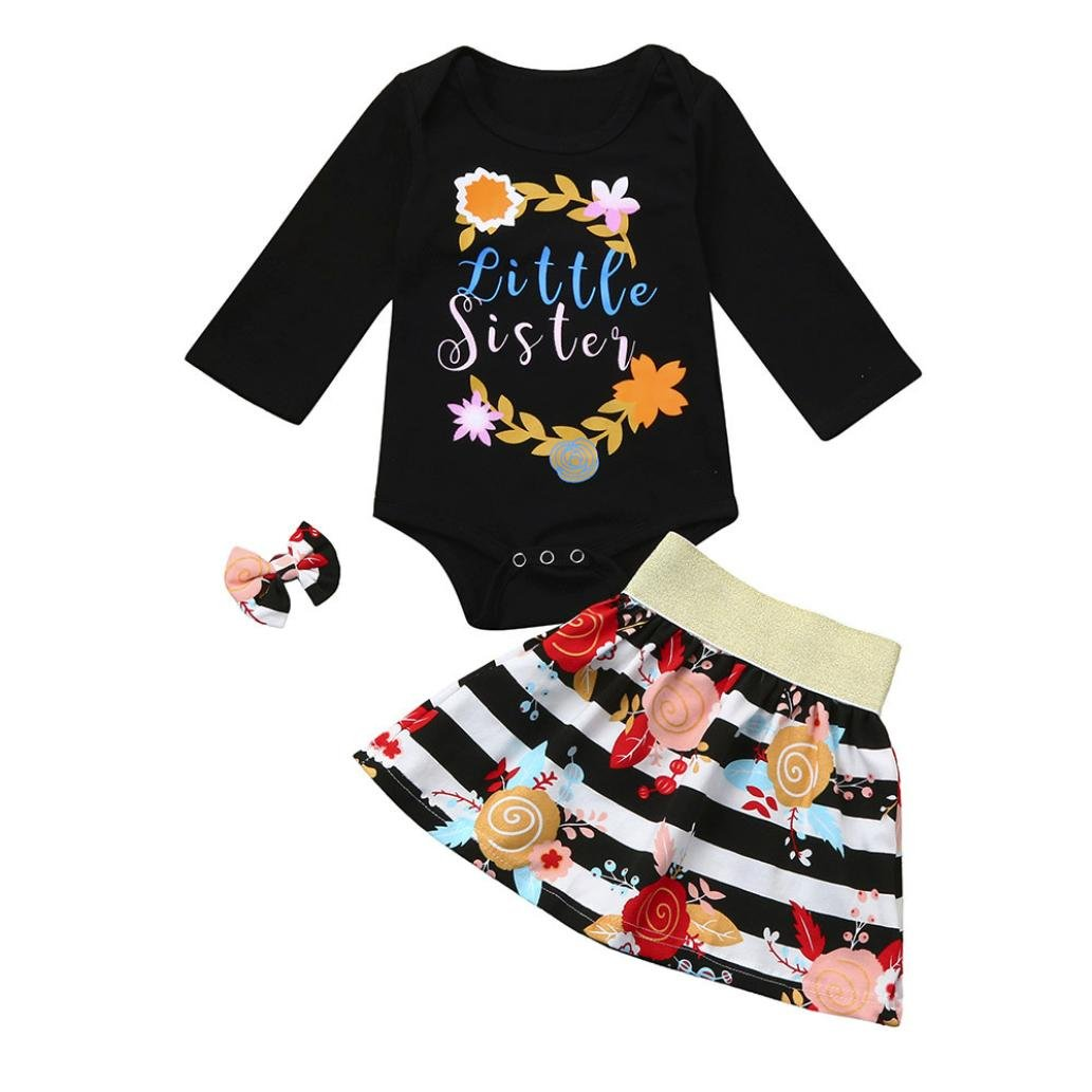 Neugeborene Bekleidungssets Hirolan Baby Strampler Mädchen Brief Outfit Lange Ärmel Strampler Blumen Drucken die Röcke Bownot Brosche Clip 3 Stück Säugling Kleider Baby Anziehsachen