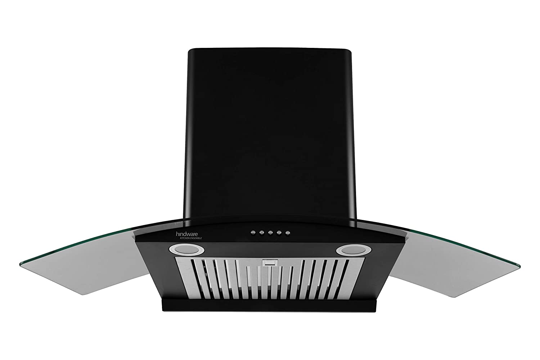 Hindware 90 cm 1000 m³/hr Auto-Clean Chimney (Elena Black 90, Black)