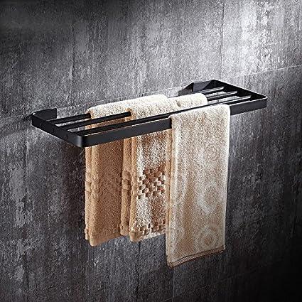 KIEYY Plegado de latón antiguo toallas negras toalla de baño antiguo kit de rack estilo Euro