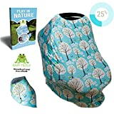 Baby Crib with Built in Changing Table Baby Car Seat Cover - BONUS eBook & Baby Bandana Drool Bib - Multiuse 7 in 1- Soft and stretchy fabric easily covers Carseat - Baby Car Seat Canopy Blue- Carseat Covers For Babies - Nursing Cover