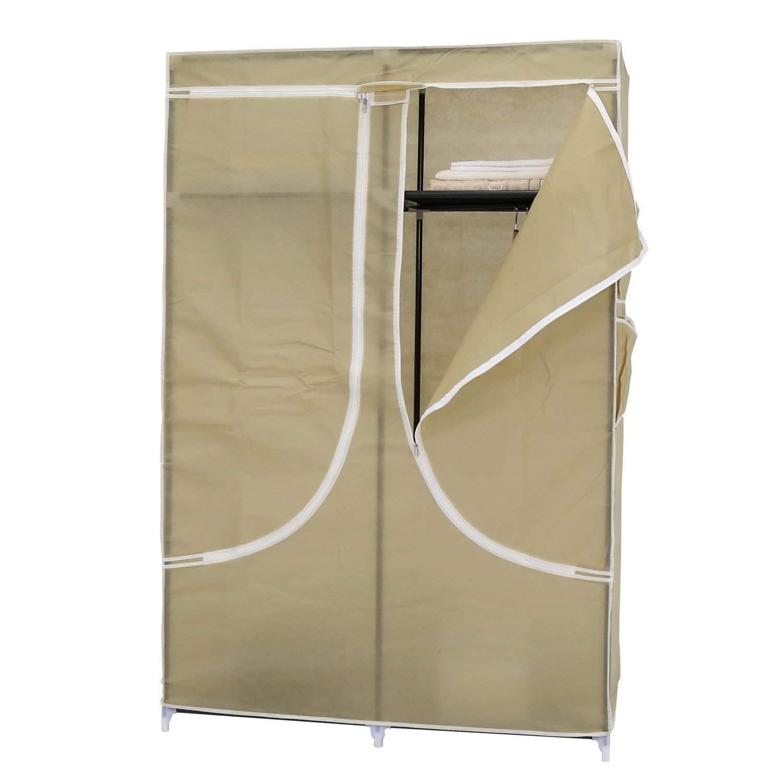 Peach Tree 43'' Portable Closet Storage Organizer Wardrobe Clothes Rack with Shelves (Beige)