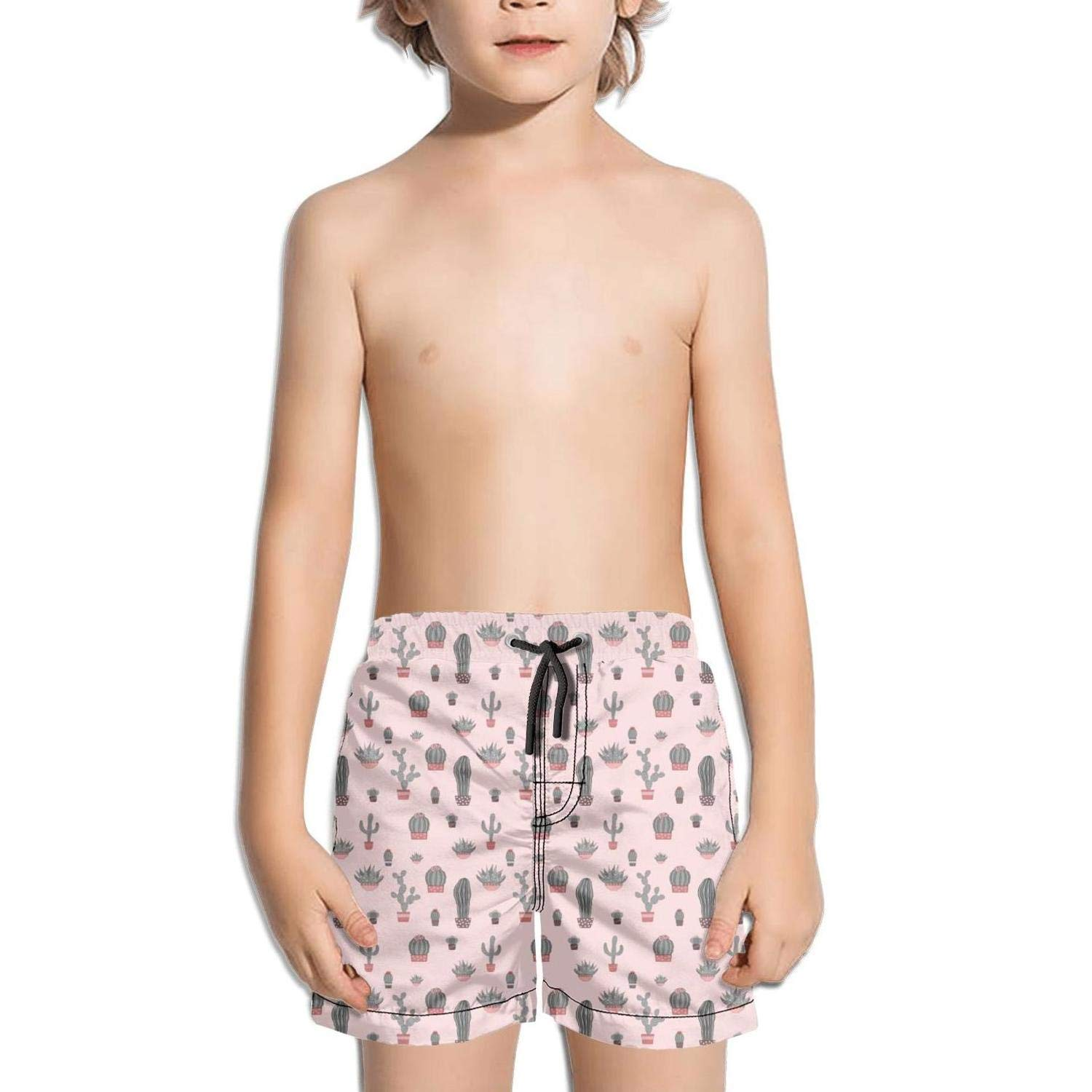 lidongsing Cute Potted Little Cactuses Boys Fast Drying Beach Swim Trunks Sports Swim Board Shorts