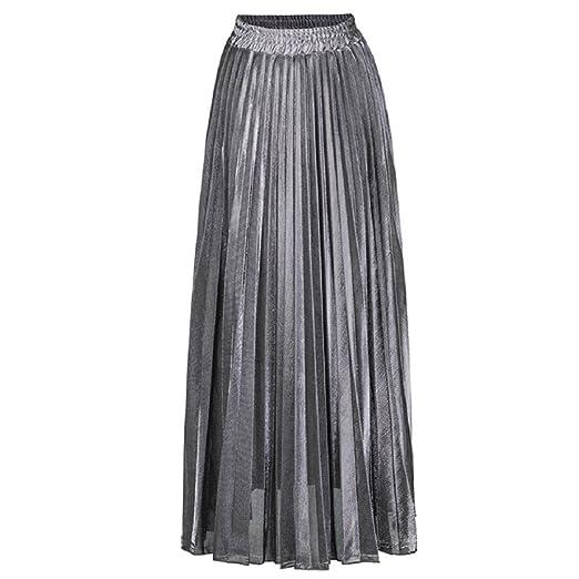 f3d7d39f2 MIA GARMENT Womens Pleated Skirt High Waisted Maxi Skirt Fashion Accordion  Skirt Casual Beach Dress Color