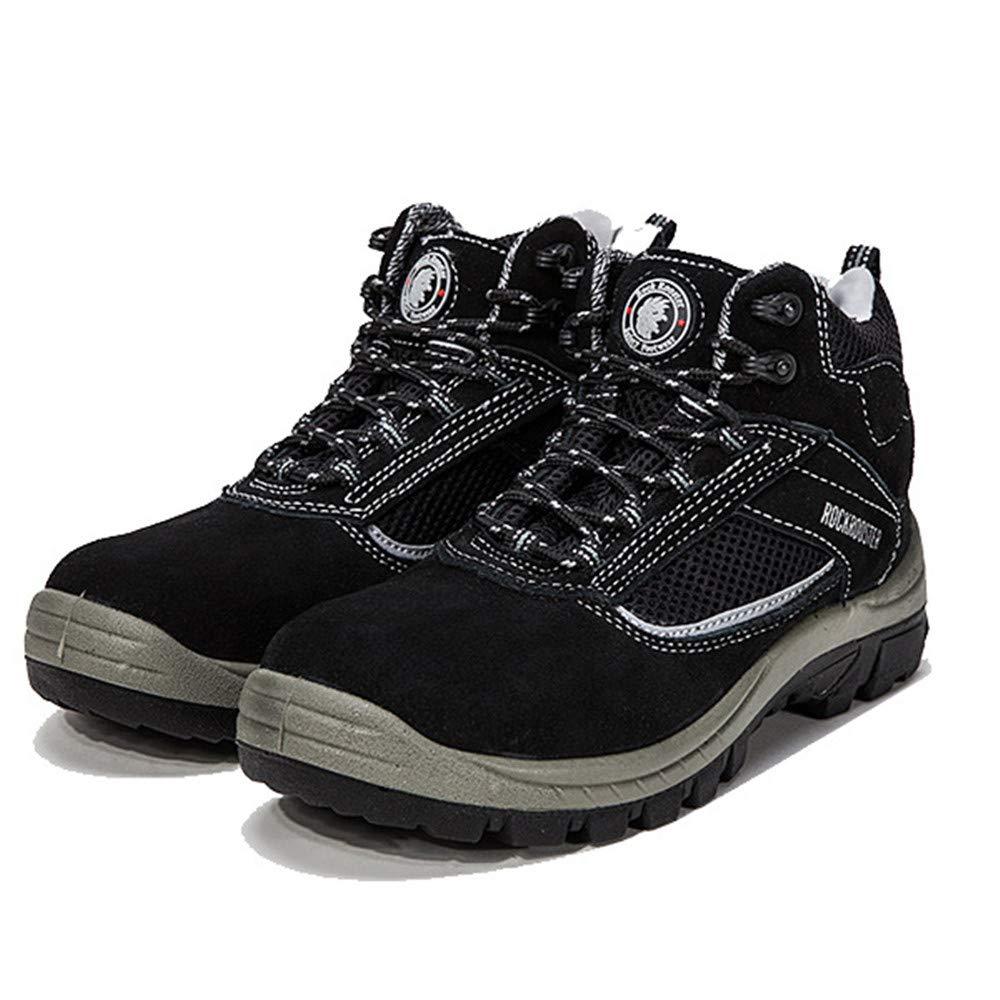 Qiusa Sicherheits-Schuhe der Männer große Wasserdichte antistatische Piercing Stahlmittelsohle-Schuhe (Farbe   Schwarz Größe   EU 48)