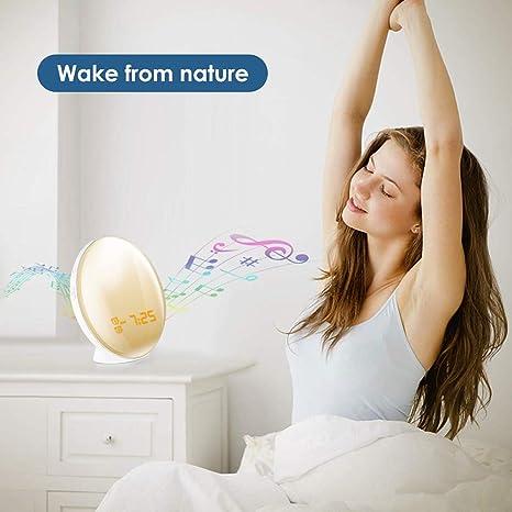Amazon.com: ILYO Wake up Light Alarm Clock, Sunrise Analog LED Display Touch Digital Clock Radio Snooze Natural Sound Function 7 lamp Bedroom Bedside: Home ...