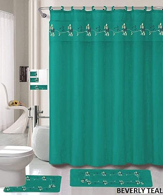 Amazon Com Af 18 Piece Bath Rug Set Beverly Teal Green Design Bathroom Rugs Matching Shower Curtain Mat Rings Towel Set Beverly Teal Home Kitchen