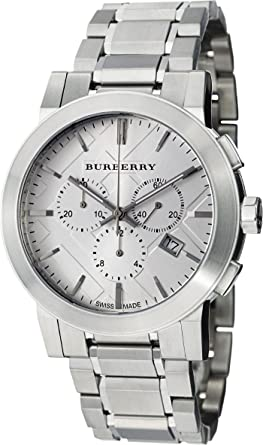 664f1d631ac Burberry Men Unisex Women Watch The City SWISS LUXURY Round Stainless Steel  Chronograph Silver Date Dial 42mm BU9350  Amazon.co.uk  Watches