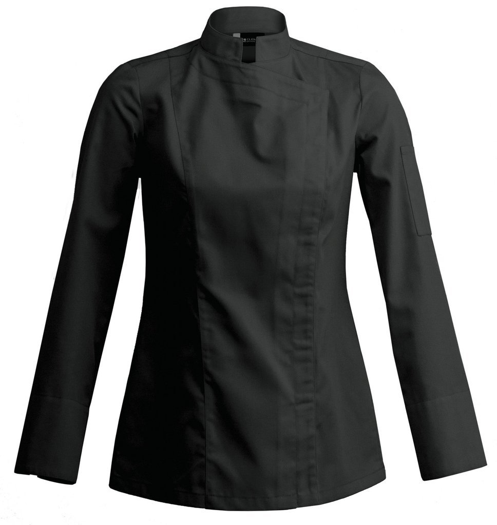 SIENNE Long Sleeve Womens Culinary Chef Jacket with Square Mandarin Collar by Clement Design (2XL - 42/44 - T4, Black)