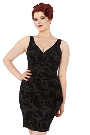 c071f99e6a Image Unavailable. Image not available for. Colour  VOODOO VIXEN Amanda  Feather Flocked Wiggle Dress