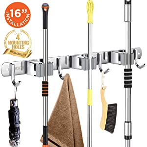 "Broom Mop Holder Wall Mount 16"" Installation Broom Mop Hanger Organizer Stainless Steel 3 Racks 4 Hooks 2020 Version for Bathroom Kitchen Office Closet Garden"