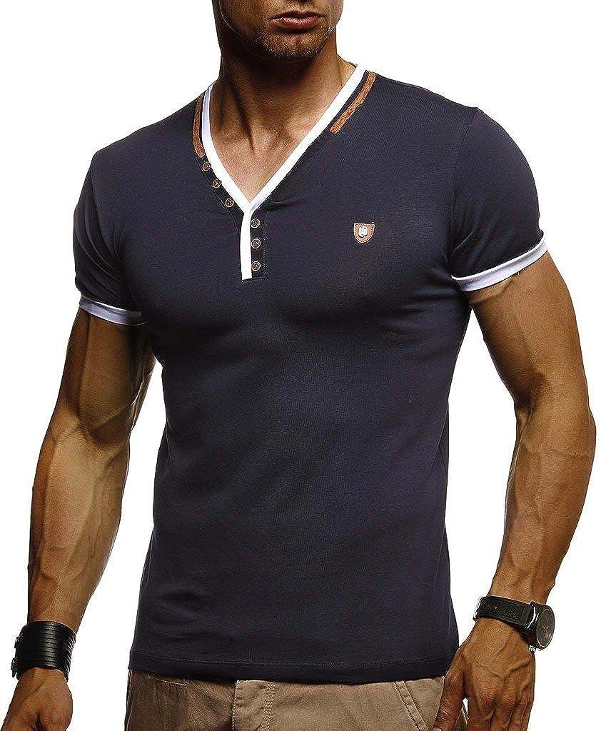 LEIF NELSON Herren Sommer T-Shirt V-Ausschnitt Kurzarm Sweatshirt Longsleeve Basics Shirts Hoodie Slim Fit LN1330