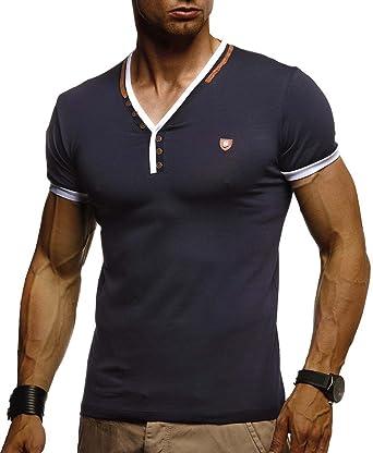 f80c215d1be5 LEIF NELSON Herren T-Shirt V-Ausschnitt Sweatshirt Longsleeve Basic Shirt  Hoodie Slim Fit
