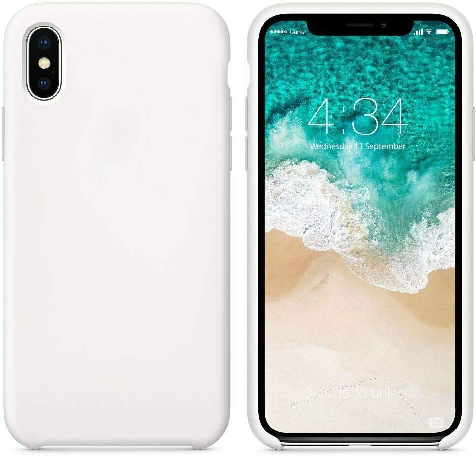 VIVICOM Liquid Silicone Case Luxury Slim Phone Cover for iPhone (Stone White, for iPhone X/XS)