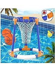 FOSUBOO Water Toys Pool Game - Zwembad Basketbal Spel, Zwembad Zwembad Basketbal Hoop voor Kinderen Volwassenen, Opblaasbare Hoop met 2xBalls+Net+Pomp Pool Speelgoed voor 3 4 5 6 7 Jaar Oude Jongens Meisjes