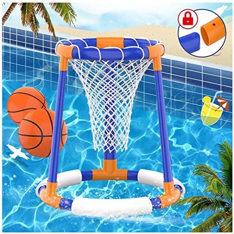 FOSUBOO Pool Toys, Pool Basketball Hoop Set for...