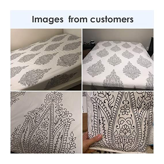 Agedate 4 Piece Brushed Microfiber Bed Sheets Set, Deep Pocket Bed Sheets Queen, Hypoallergenic, Easy to Care, Fade, Stain and Wrinkle Resistant, Queen Size, White and Black Paisley Patterned - ★〖100% Brushed Microfiber〗: Our brushed microfiber sheets are composed of extremely fine fibers of polyester, which are ultra-breathable, ultra-soft and affordable, offer you a luxury hotel-like sweet sleep experience, no more sweaty and sleepless nights. ★〖Breathable and Hypoallergenic〗: We pursue the best and adopt premium microfiber fabric which is mild and non-itching to the skin, free from stimulation, an ideal choice for allergy sufferers. ★〖Durable and Colorfast〗: Using the newest stitching technology, the sheets have high density and exquisite seam which make it will not shrink or pill. Owing silky elegant luster and higher color fastness than cotton fabrics, our bed sheet set is a great gift idea for men and women, Moms and Dads, Valentine's - Mother's - Father's Day and Christmas. - sheet-sets, bedroom-sheets-comforters, bedroom - 61lbmW6w9 L. SS570  -