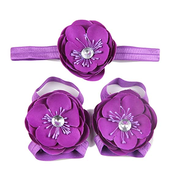 1c937b4437d907 Baby Foot Flower Headband and Barefoot Sandal Feet Set for Toddlers JB43 (4- Purple