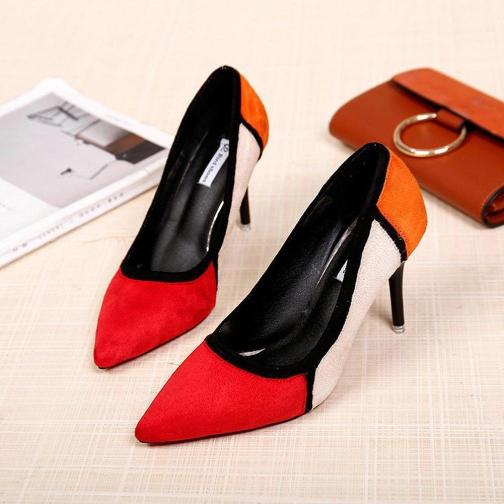 Tacones de mujer Covermason Primavera Casual zapatos de punta estrecha Flock Patchwork Zapatos de tacón alto(38 EU, rojo): Amazon.es: Ropa y accesorios