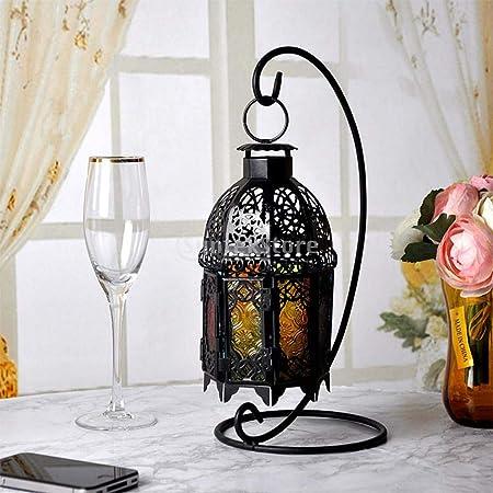 Colgante linterna marroquí de Vidrio Estilo Luz De Té Sostenedor de Vela Decoración del hogar