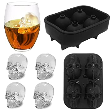 Amazon.com: CloverStar 1pc Black Sillone Ice Mold Tray Skull ...