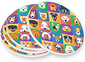 visesunny Unique Design Dog Icon Pattern Coaster Moisture Absorbing Stone Coasters with Cork Base for Tabletop Protection Modern Coffee Mug Glass Cup Place Mats for Cold Drinks, 4 Pieces