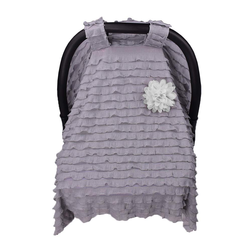 Travel Car Seat Covers Stroller Covers for Infants Baby Boys and Girls Stylish Ruffles Breathable Baby Carseat Canopy Pink