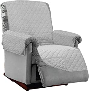 Sofa Shield Original Patent Pending Large Recliner Slipcover, Many Colors, Seat Width to 28 Inch, Reversible Furniture Protector with Straps, Reclining Chair Slip Cover Throw for Pet Dog, Light Gray