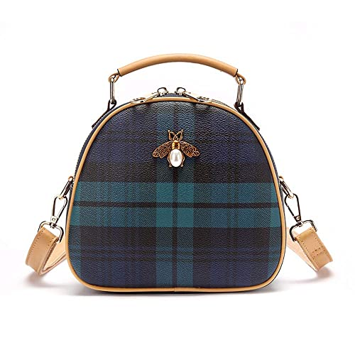 334effdd1cb7 Amazon.com: Mn&Sue Tartan Small Cross Body Bags Mini Bee Top Handle ...