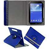 Fastway Rotating 360° Leather Flip Case for iBall Slide Brisk 4G2-7 Inch-Blue
