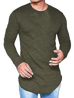 be04b65de1ab Pxmoda Men's Long Sleeve Hipster Hip Hop Swag Curved Hem T Shirt (Improved)
