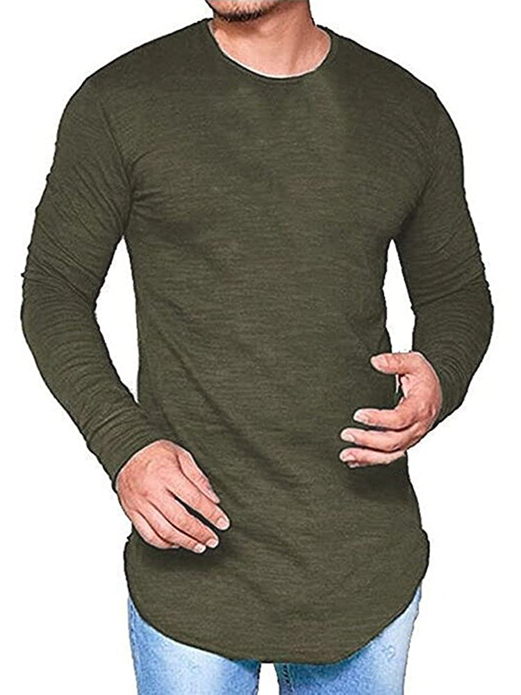 f92c745a950e Pxmoda Men's Long Sleeve Hipster Hip Hop Swag Curved Hem T Shirt (Improved)  | Amazon.com