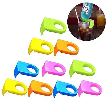 10pcs ABS hebilla de botella cerveza cóctel Snap Bar bebida portabotellas de clips (color al