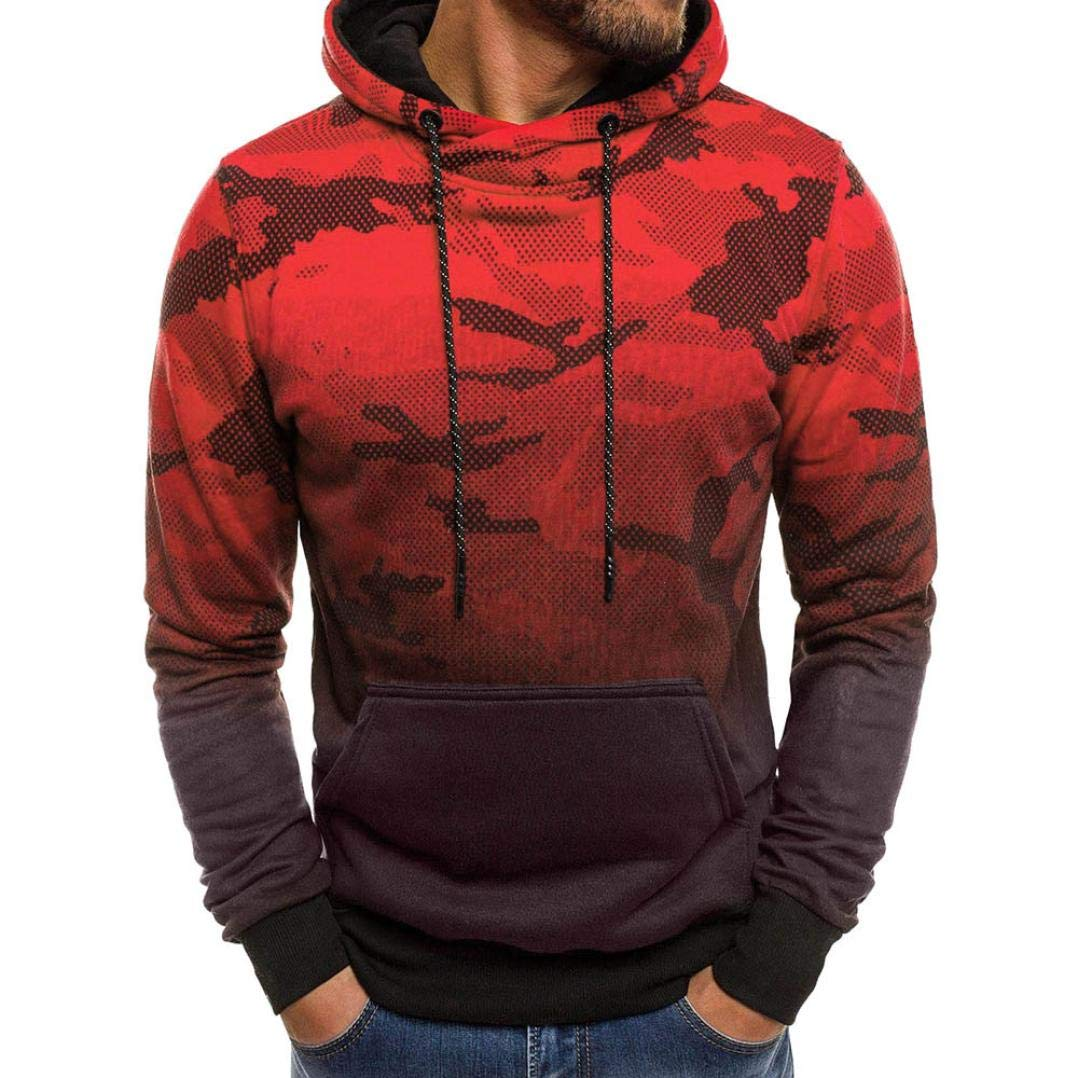 HTHJSCO Men's Camouflage Sweatshirt Top Tee, Hoodie Hooded Outwear Blouse (Red B, XXL)