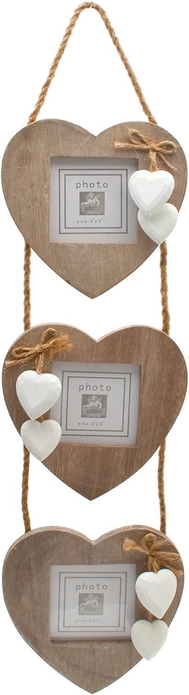 Rinkit Windhorse - Adorno de pared con marcos de fotos (madera, 3 fotografías), diseño shabby chic de corazones