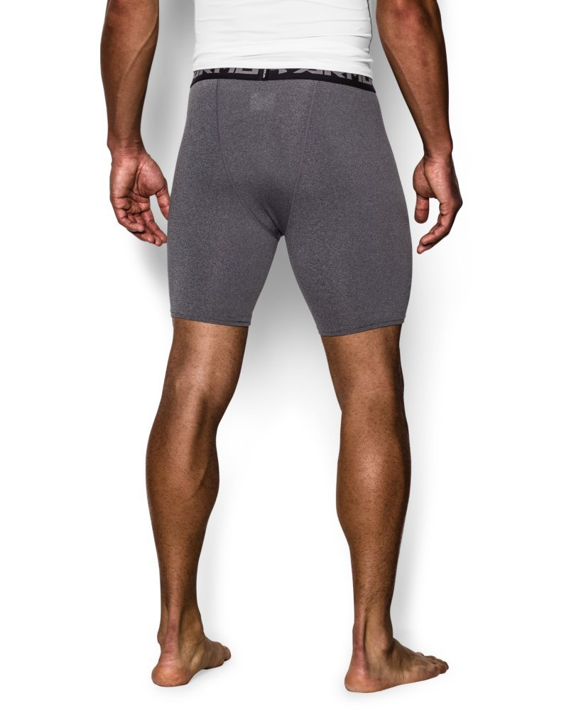 Under Armour Men's HeatGear Armour Compression Shorts – Mid, Carbon Heather (090)/Black, Medium by Under Armour (Image #2)