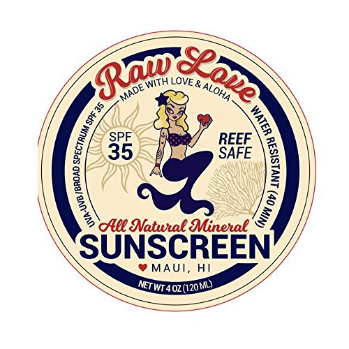 Love Screen - Raw Love All Natural Mineral Sunscreen SPF 35 Safe for Reefs Diving Reef Friendly Snorkeling Swimming Sun Screen (4 oz)