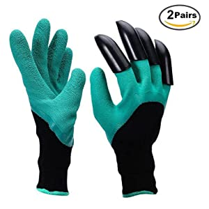 Garden Genie Gloves ABS Plastic Claws Gardening Gloves for Planting, Digging and Weeding (2 Pairs)