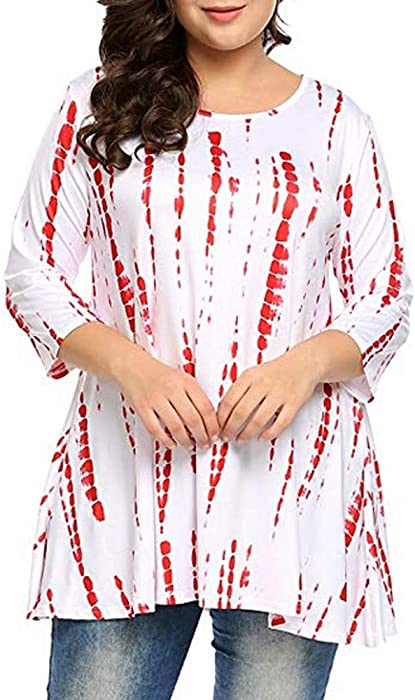 4eb0be16a57 Women Printed Top Fashion Casual Loose Plus Size 3 4 Sleeve O-Neck Fit  Swing Tunic Tops Flowy T Shirt Blouse